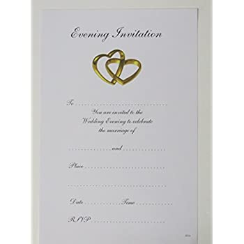 wedding evening invitations two heart design pack of 20 invites