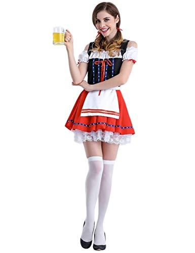 BONNIO Frauen Cosplay Party Kleid Oktoberfest Bier Mädchen Karneval Halloween Kostüm Maid Outfit (Kellnerin Kostüm Kinder)