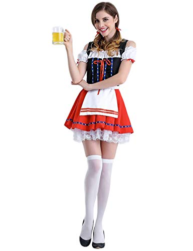 BONNIO Frauen Cosplay Party Kleid Oktoberfest Bier Mädchen Karneval Halloween Kostüm Maid - Kind Oktoberfest Kostüm