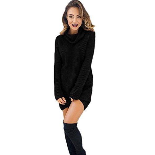 Sannysis Damen Langarm-Pullover Rollkragen Pullover Bluse Kleid (L, Schwarz) (Pullover Rollkragen Schwarzen)