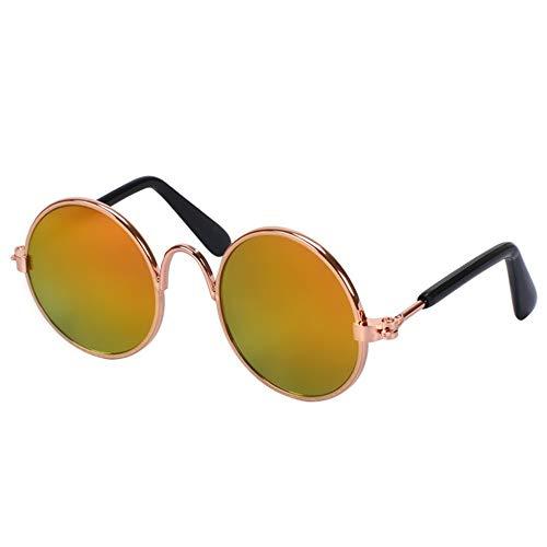 Dog Sunglasses Im Freien Kleine runde Pet-Sonnenbrille aus Metallrahmen für spezielle Gezeitenbrillen für Katzen-Chihuahua oder kleine Hunde