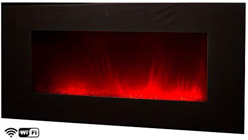 Elektrischer Wandkamin Volcano XXL WIFI von Chemin\'Arte per App via Smartphone steuerbar Grosser Elektrokamin 2000W mit LED-Effektfeuer in 4 kombinierbaren Farben Länge 122 cm
