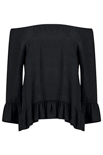 Femmes noires Lois Black Denim Off The Shoulder Top Noir