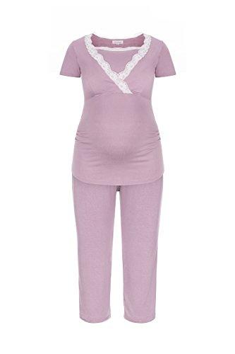 Herzmutter Kurzer Stillpyjama-Umstandspyjama | Nachtwäsche-Pyjama-Set für Schwangerschaft-Stillzeit-Stillfunktion | Schlafanzug mit Spitze-Streifen-Muster | Softes Material | 2500 (M, Rosa)