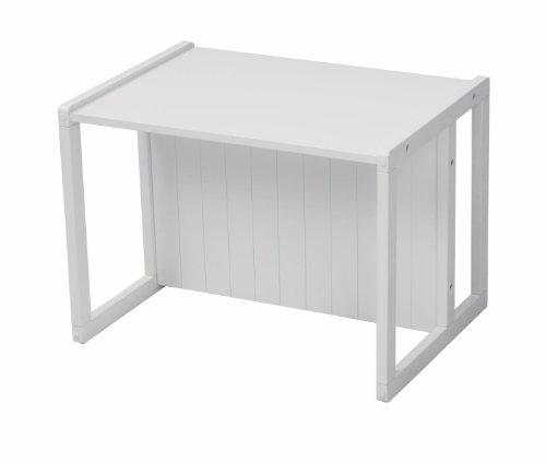 roba Sitzbank im Landhausstil, weiß, durch Drehen in 2 Sitzhöhen oder als Kindertisch verwendbar -