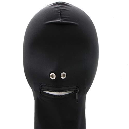 JETEHO Unix Schwarz Atmungsaktiv Vollbezug Spandex Zentai Kostüm Rollenspiele Maske für Damen und Herren
