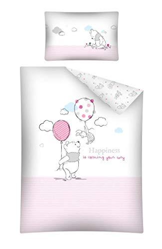 Baby Bettwäsche Set 2tlg. 100% Baumwolle Größe: 100x135 cm, 40x60 cm, ÖkoTex Standard 100 (Winnie Pooh Rosa)