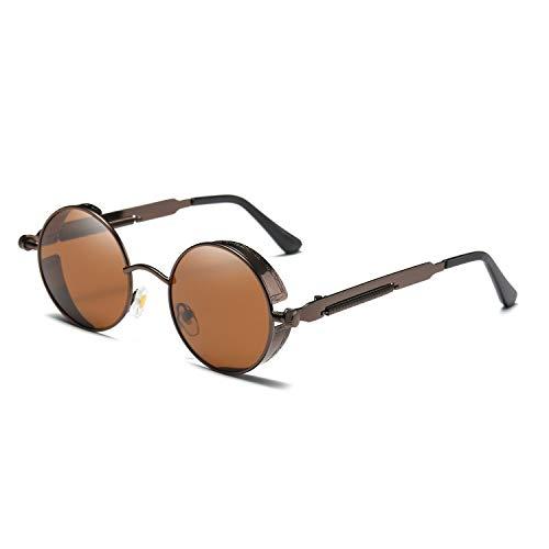 Tclothing Steampunk Stil Rund Vintage Polarisiert Sonnenbrillen Retro Brillen UV400 Schutz Metall Rahmen
