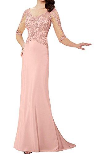 La_Marie Braut Blau Spitze Elegant v-ausschnitt Abendkleider Ballkleider Chiffon Brautmutterkleider Bodenlang Perlen Rosa