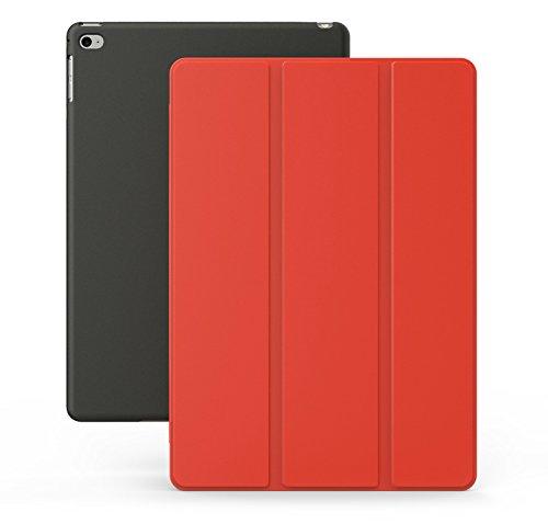 Khomo iPad Air 2 Hülle Case Rot und Schwarzes Gehäuse mit doppelten Schutz ultra dünn und leicht, Smart Cover  - Red and Black (Best Cases Für Ipad Air 2)