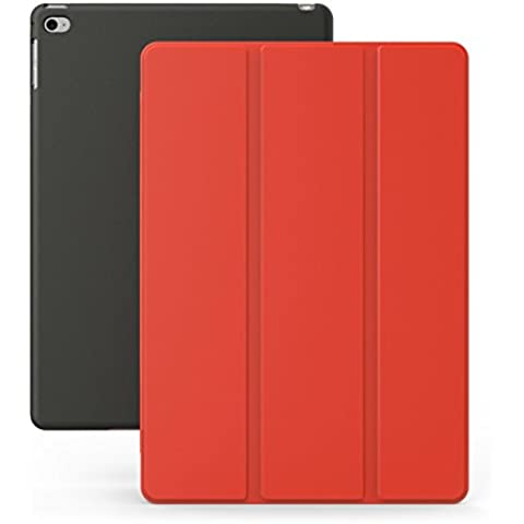 KHOMO Funda iPad Air 2 - Carcasa Roja y Negra Ultra Delgada y Ligéra con Smart Cover para Apple iPad Air 2 - Red and Black