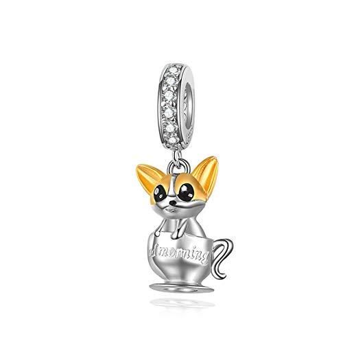 HSUMING Süße Hund Anhänger 925 Sterling Silber vergoldet Halskette Anhänger für Mädchen, ich Bin der süßeste, Dosenmüll (Süßeste Kostüme Hund)