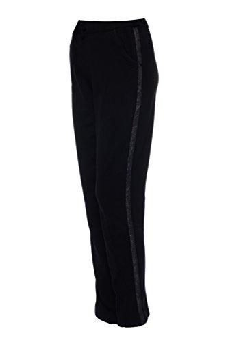 Dress Sheek Damen Gemustert Casual Straight luftig Freizeit Baumwolle Hose Streifen - Schwarz