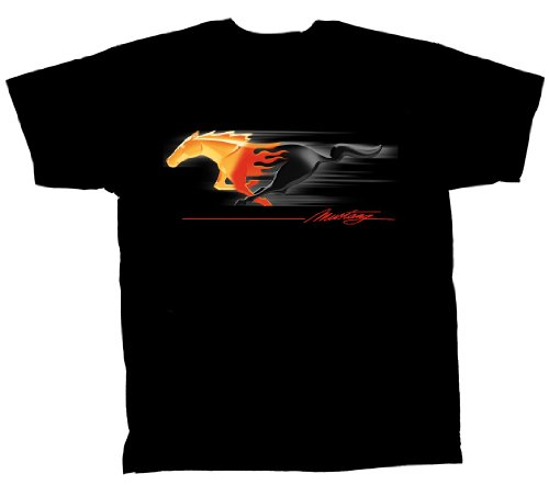 ford-mustang-t-camiseta-de-manga-corta-de-poni-de-en-llamas-muscular