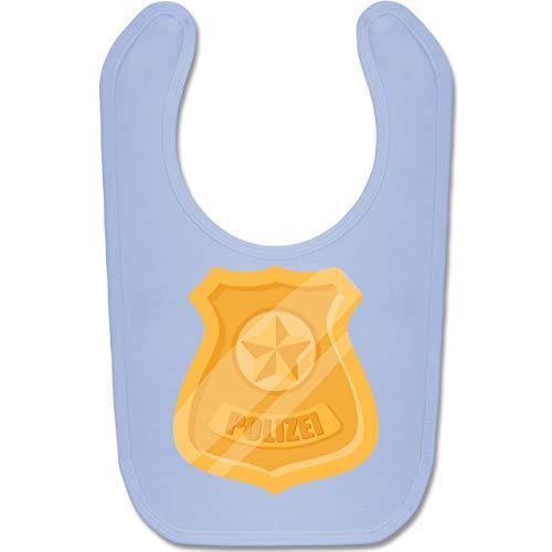 Shirtracer Karneval und Fasching Baby - Polizei Marke Karneval Kostüm - Unisize - Babyblau - BZ12 - Baby Lätzchen Baumwolle