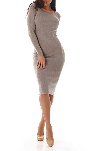 VOYELLES Damen Strcikkleid mit langen Ärmeln und Rundhalsausschnitt, Trend-Farben, Gr. 34-38 Beige