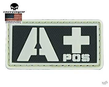 Emersongear Military EIN Blut PVC 3D Gummi Abzeichen Patch Weiß Glow In Dark Moral Armband Haken Rückseite Taktische Mini Patches ()