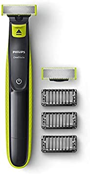 Philips QP2526/10 Cordless OneBlade Hybrid Trimmer and Shaver with 3 Trimming Combs and extra blade (Lime Gree
