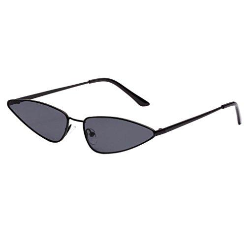 P Prettyia Vintage Damen Sonnenbrille Herren Sonnenbrille Fahrerbrille UV400 Schutz für Autofahren Reisen Golf Party und Freizeit - Schwarzes Rahmen-Grau-Objektiv