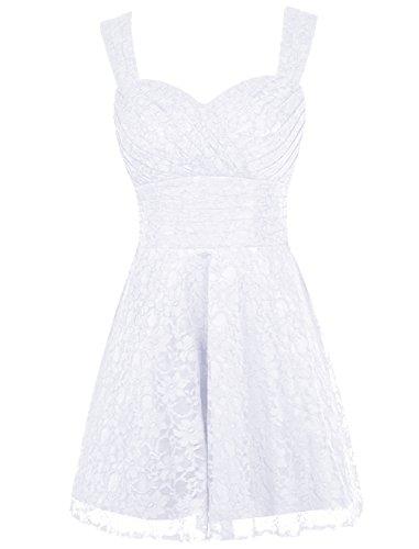 Dresstells, Robe courte de soirée de cocktail Robe de fête de la rentrée en dentelle longueur genou Blanc