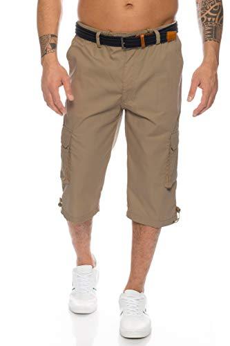 Herren Cargo Shorts mit Dehnbund - mehrere Farben ID505, Größe:3XL;Farbe:Khaki (Herren Cargo Hose 50 Größe)