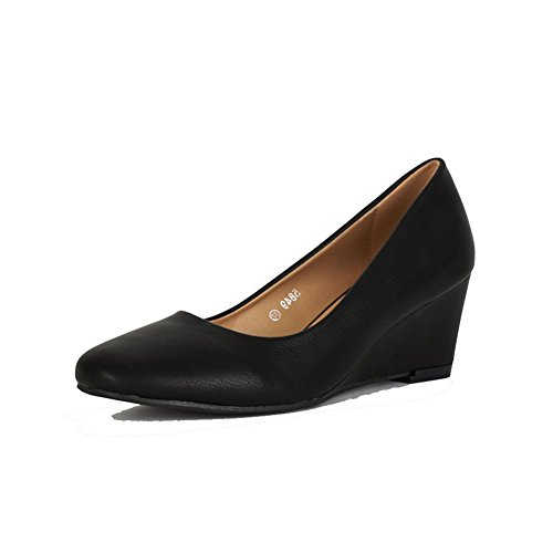 Plain talon compensé de bout arrondi Matt travailler / court shoes Noir