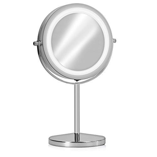 Navaris specchio da trucco con luce led - specchio illuminato con ingrandimento x7 - specchietto cosmetico ingrandente con luci rotazione 360°