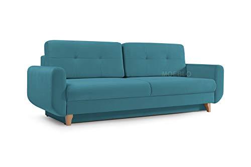 mb-moebel Modernes Sofa Schlafsofa Kippsofa mit Schlaffunktion Klappsofa Bettfunktion mit Bettkasten Couchgarnitur Couch Sofagarnitur 3er Saphir (Türkis)