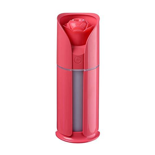DSNFJD Mini USB Umidificatore Ad Ultrasuoni Rosa Forma Umidificatore Aroma Olio Essenziale Diffusore Aromaterapia per Ufficio Spa Idrata Efficacemente L'aria,Red