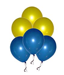 BALLOON JUNCTION Themez only BLUE & YELLOW Metallic Birthday Party Balloons - Pack of 50