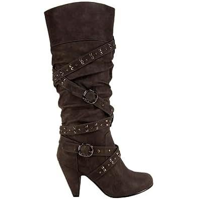 Womens Mid Heel Cross Strap Stud Grey Knee High Boots