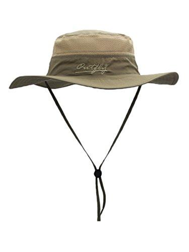 Outfly Damen Herren Outdoor Bucket Hut Fischer Hut Atmungsaktiv Schnelltrocknend Sonnenschutz - für Kopfumfang 55-60 cm Dunkelkhaki