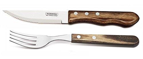 Tramontina Churrasco Jumbo Steak Knife and Fork with Wooden Handles