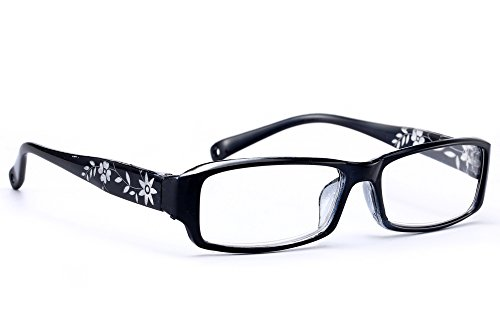 NEW UNISEX (Damen Herren) Flower Blumen Retro Vintage Lesebrille Brille +0.50 +0.75 +1.0 +1.5 +2.0 +2.5 +3.00 +4.00 Reading glasses Morefaz(TM) (+1.5, Black)