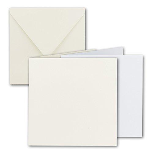 Preisvergleich Produktbild Quadratisches Falt-Karten-Set I 15 x 15 cm - mit Brief-Umschlägen & Einlege-Blätter I Naturweiss I 50 Stück I KomplettpaketI Qualitätsmarke: FarbenFroh® von GUSTAV NEUSER®