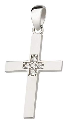 Ardeo Aurum Damen Kreuz-Anhänger aus 333 Gold Weißgold mit Zirkonia im Brillant-Schliff Kruzifix