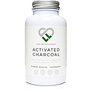 Highest Strength Activated Charcoal by LLS | 334mg per Capsule | 90 Capsules - 3 Month Supply | Single Ingredient - 100% Coconut Charcoal - No Bulking Agents No Anti Caking Agents