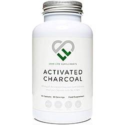 LLS Charbon actif   90 capsules - approvisionnement de 3 mois   334mg par capsule   Remplissage pur - 100% de charbon de noix de coco - Aucun agent de charge, aucun agent anti-agglomérant