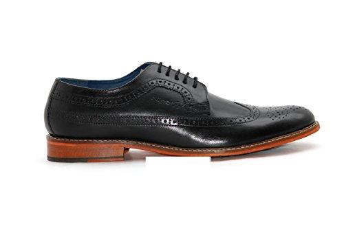 Ninety9steps Men's Fashion Leather Formal Elegance Lifestyle Lace Up Shoes (Color Black; Size: UK 10.5)