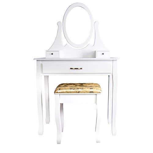 CCLIFE Tocador con cajones y taburete tocador de maquillaje mesa de maquillaje Tocador con taburete y espejo, Color:004B-Blanco