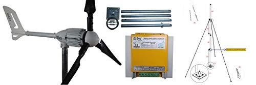 Windgenerator 1000 Watt Windkraft, Windturbine, in 24V oder 48V zur Auswahl (24V mit Laderegler I/HCC-1000 + Mast 4 Meter)