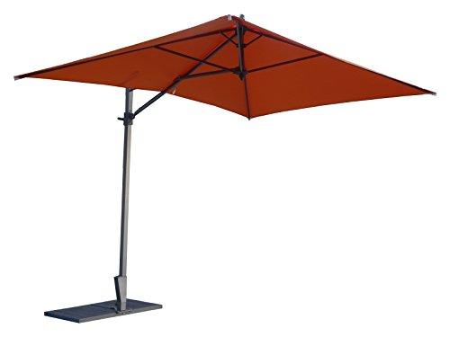 Maffei Art 137r rechteckiger Ampelschirm cm 300x200, Stoff Polyester wasserdicht, patentiertes Gestell drehbar und verstellbar. Made in Italy. Farbe Orange