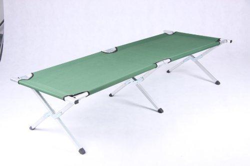Lit de camp, lit d'appoint, lit pliant en aluminium, avec sac de transport, vert