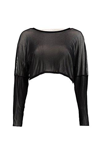 Noir Femmes Lilly Top Court Surdimensionné En Tulle À Manches Longues Noir