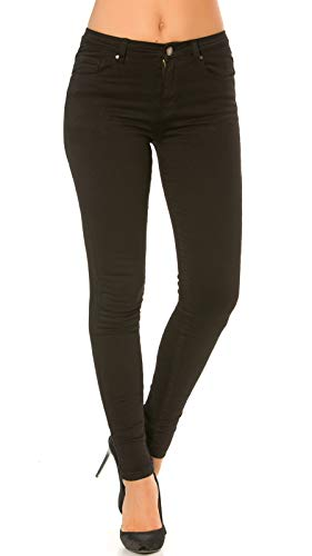 Nina Carter Donna Jeans Skinny Nero Pantaloni Slim Stretch Taglia 40