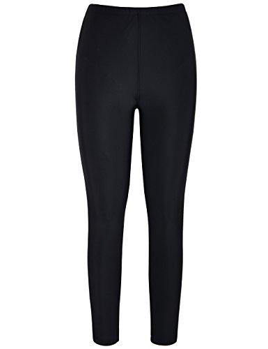 Hilor Damen UV Rash Guard Pants Crop Jogginghose Schwimmhose Leggings Capri Tights 54 (Floral Guard Rash)