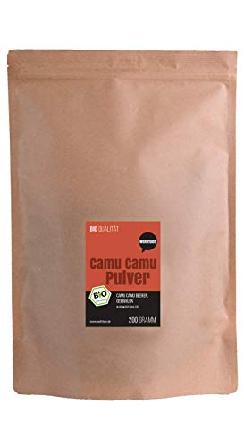 Camu-beere Pulver (Wohltuer Bio Camu Camu Pulver 200g   Bio Fruchtpulver reich an Vitamin C   Beste Rohkost für Smoothies, Shakes und Müsli   Vegan)