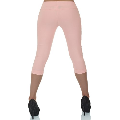 malucas Damen Capri Hose Hüfthose 3/4 Knielang Shorts Kurze Sommerhose Bermuda Stretch Rosa