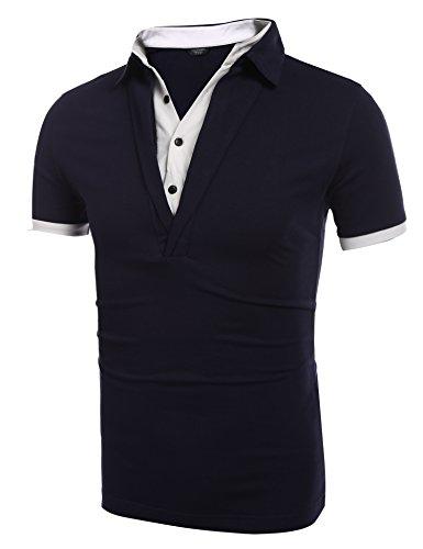 Coofandy Herren Poloshirts Polohemd Slim Fit Kurzarm Sommer Freizeit Sport 2  in 1 shirt T- ...