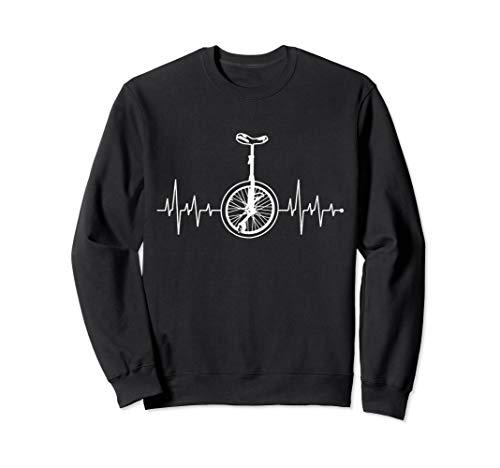 Herzschlag Herzfrequenz Herzlinie Unicycle Einrad-Fahrer Rad Sweatshirt